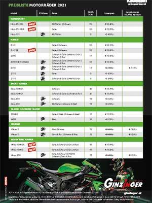 Kawasaki Preisliste