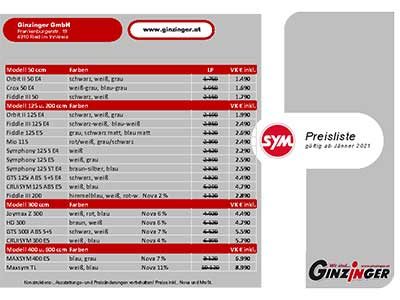 SYM Preisliste