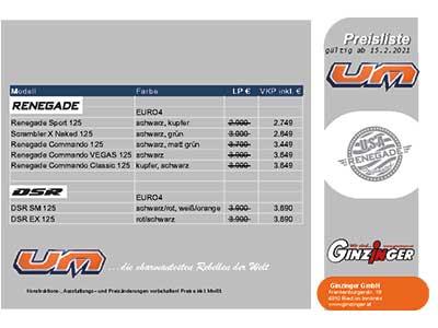 United Motor Preisliste
